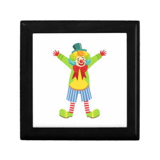 Colorful Friendly Clown With Multicolor Gift Box