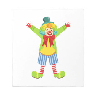Colorful Friendly Clown With Multicolor Notepad