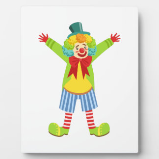 Colorful Friendly Clown With Multicolor Plaque