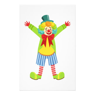 Colorful Friendly Clown With Multicolor Stationery