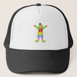 Colorful Friendly Clown With Multicolor Trucker Hat