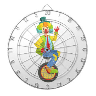 Colorful Friendly Clown With Rainbow Wig In Classi Dartboard