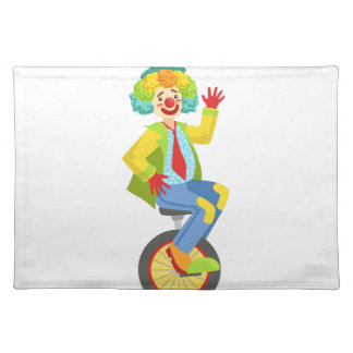 Colorful Friendly Clown With Rainbow Wig In Classi Placemat