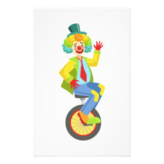 Colorful Friendly Clown With Rainbow Wig In Classi Stationery