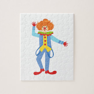 Colorful Friendly Clown With Suspenders In Classic Jigsaw Puzzle