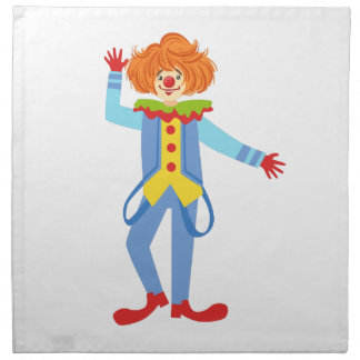 Colorful Friendly Clown With Suspenders In Classic Napkin