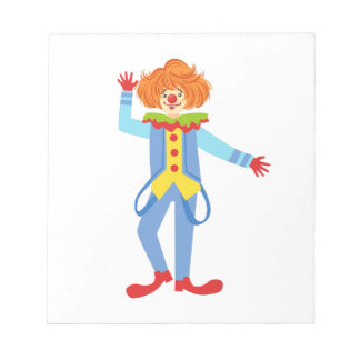 Colorful Friendly Clown With Suspenders In Classic Notepad
