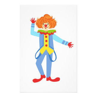 Colorful Friendly Clown With Suspenders In Classic Stationery