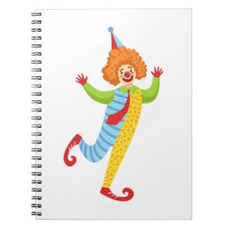 Colorful Friendly Clown With Tie In Classic Outfit Notebooks