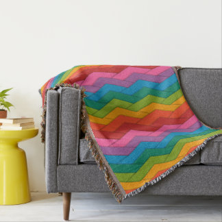 Colorful Fringed Throw Blanket