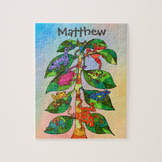 Colorful Frog Tree of Life Watercolor Personalized Jigsaw Puzzle