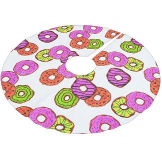 colorful frosted donuts doughnut with sprinkles brushed polyester tree skirt