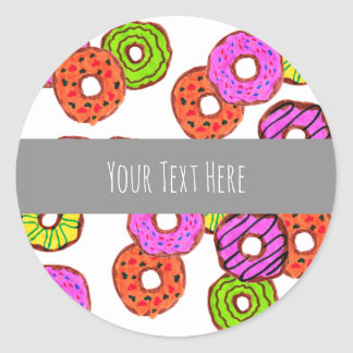 colorful frosted donuts doughnut with sprinkles classic round sticker