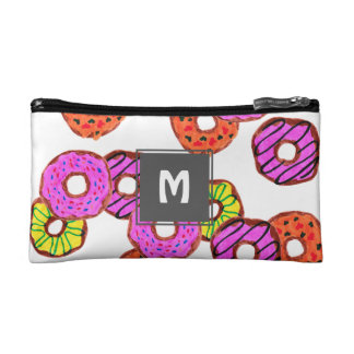 colorful frosted donuts doughnut with sprinkles makeup bag