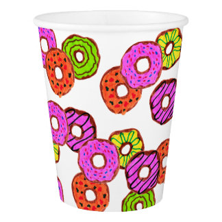 colorful frosted donuts doughnut with sprinkles paper cup
