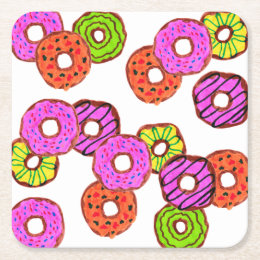 colorful frosted donuts doughnut with sprinkles square paper coaster