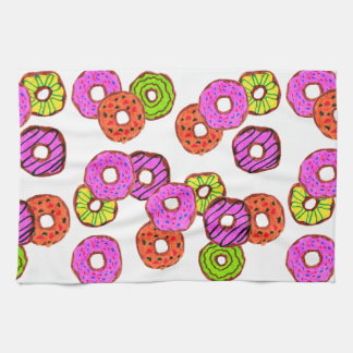 colorful frosted donuts doughnut with sprinkles tea towel