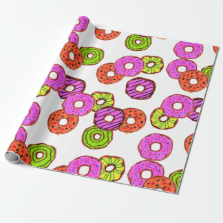 colorful frosted donuts doughnut with sprinkles wrapping paper