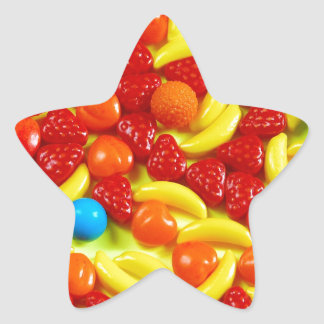 Colorful fruit candy pattern star sticker