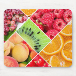 Colorful Fruit Collage Pattern Design Mouse Pad