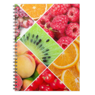 Colorful Fruit Collage Pattern Design Spiral Notebook