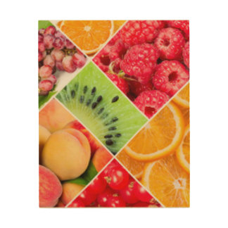 Colorful Fruit Collage Pattern Design Wood Wall Art