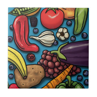 Colorful Fruits and Vegetables on Blue Ceramic Tiles