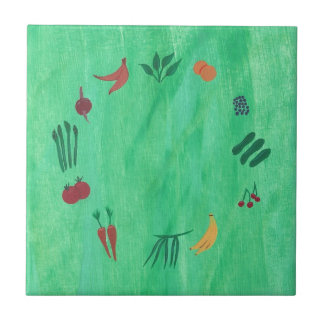 Colorful Fruits and Vegetables Trivets Small Square Tile