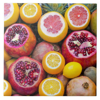 Colorful fruits large square tile