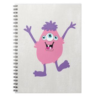 Colorful Fun Abstract Pattern Kids Monsters Spiral Notebook