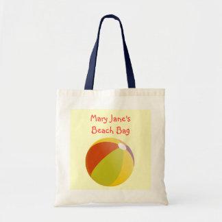 Colorful Fun Beach Ball Chidlren's Custom Name Tote Bag