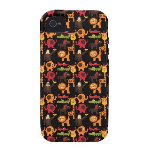 Colorful Fun Cute Jungle Village Safari Zoo Animal Case-Mate iPhone 4 Case