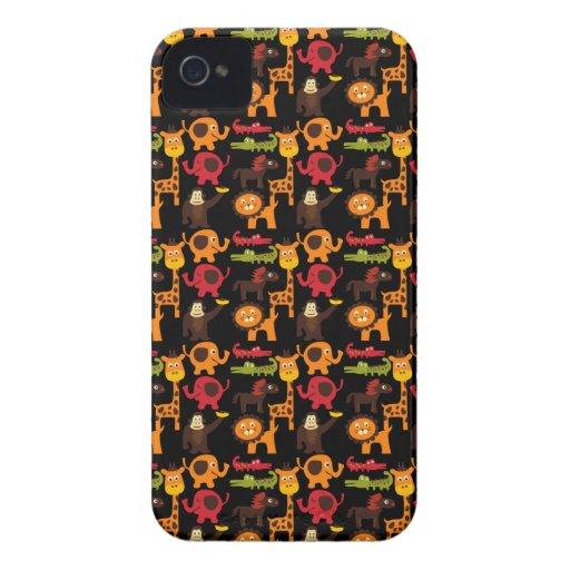 Colorful Fun Cute Jungle Village Safari Zoo Animal iPhone 4 Case-Mate Case