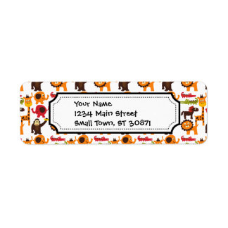 Colorful Fun Cute Jungle Village Safari Zoo Animal Return Address Label