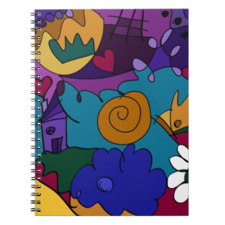 Colorful, Fun Doodle Art Spiral Notebook Journal