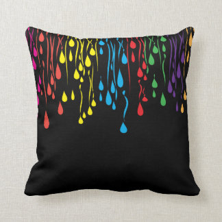 Colorful Fun Drip Abstract Design Throw Pillow