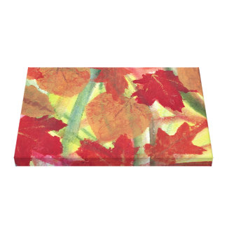 Colorful Fun Fall Autumn Leaves Wrapped Canvas Canvas Print
