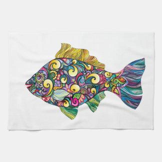 Colorful fun fish tea towel