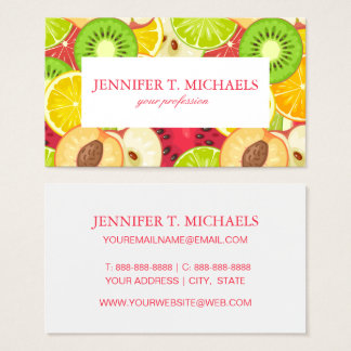 Colorful Fun Fruit Pattern Business Card