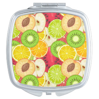 Colorful Fun Fruit Pattern Compact Mirrors