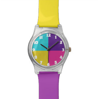 Colorful Fun Kids Watch Purple Pink Yellow