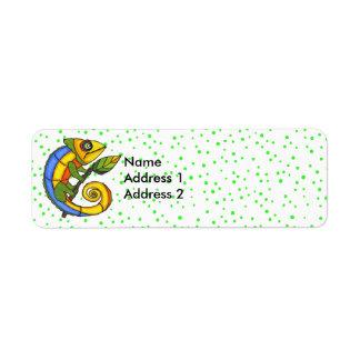 Colorful Fun Lizard Branch Green Dots Return Address Label