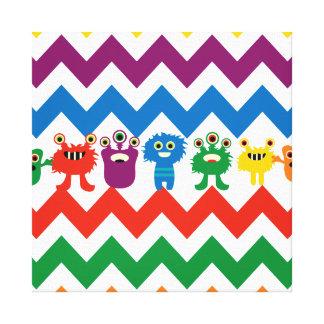 Colorful Fun Monsters Cute Chevron Striped Pattern Canvas Prints