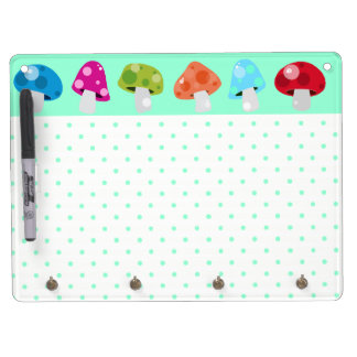 Colorful & Fun Polka Dots with Mushrooms Dry Erase Board With Key Ring Holder
