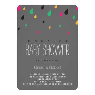 Colorful Fun Raindrops Couples Baby Shower Invite