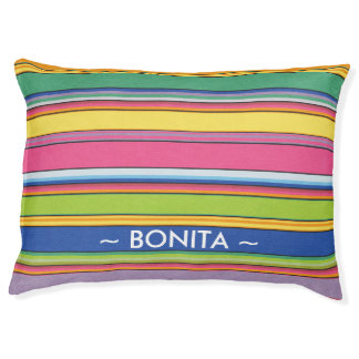 Colorful Fun Stripes Personalized With Dog's Name Pet Bed
