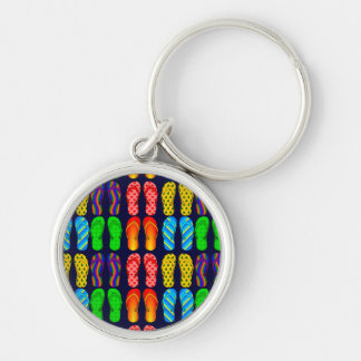 Colorful Fun Summer Flip Flops Silver-Colored Round Key Ring