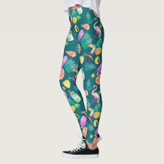 Colorful Fun Tropical Summer Pattern Leggings