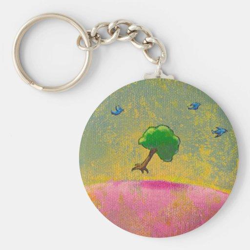 Colorful fun unique art flying tree blue birds key chain