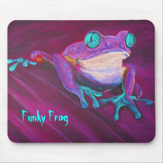 Colorful funky frog mouse pad